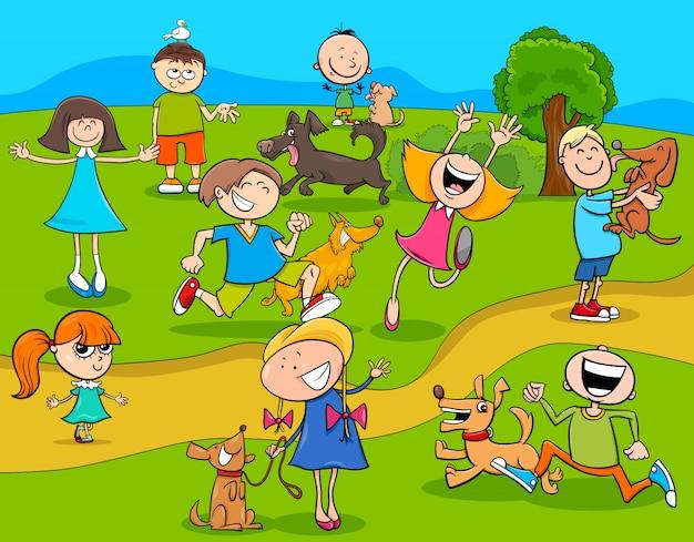 Niños De Dibujos Animados Con Perros En El Parque