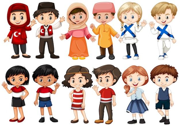Para Niños De Dibujos Animados Caras Diferentes: Niños De Diferentes Países