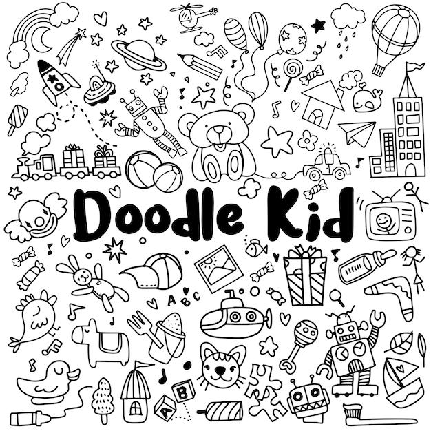 Niños dibujados a mano doodle conjunto Vector Premium