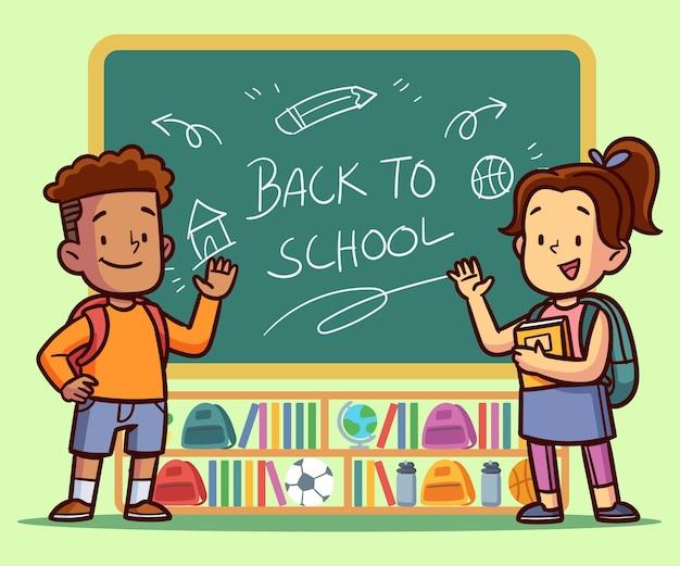 Niños dibujados a mano de regreso a la escuela vector gratuito