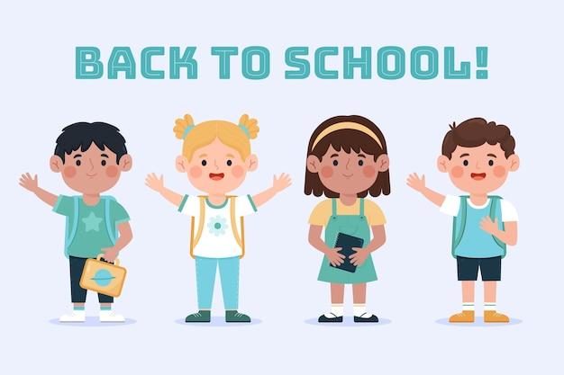 Niños dibujados de regreso a la escuela vector gratuito