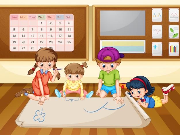Niños dibujando en papel en el aula | Descargar Vectores Premium