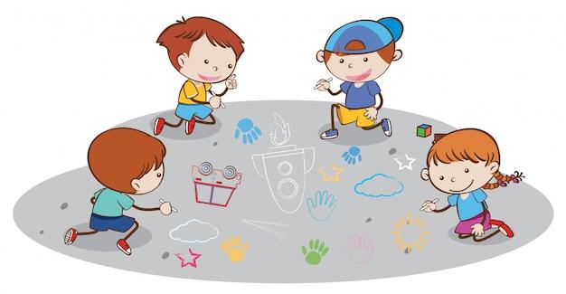 Niños dibujando en el piso | Descargar Vectores Premium