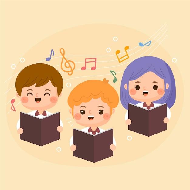 Niños de dibujos animados cantando en un coro vector gratuito