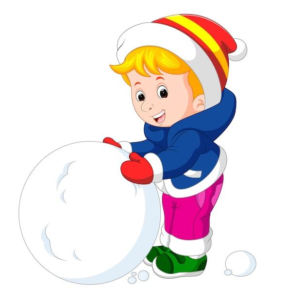 Ninos De Dibujos Animados Jugando Con Nieve Descargar Vectores Premium