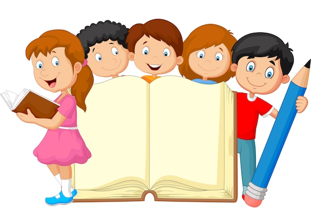 Niños de dibujos animados con lápiz y libro | Vector Premium