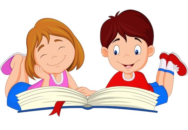 Niños De Dibujos Animados Leyendo El Libro