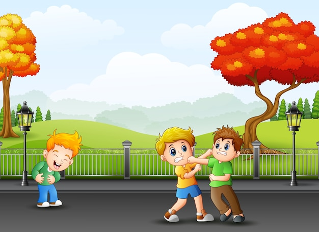Niños De Dibujos Animados Peleando En La Calle Descargar Vectores