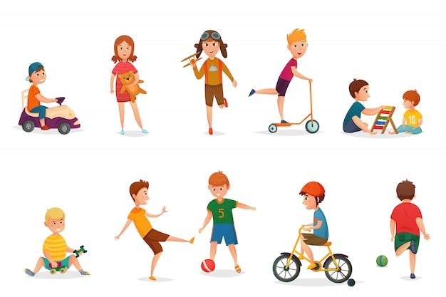 Niños de dibujos animados retro jugando conjunto de iconos vector gratuito