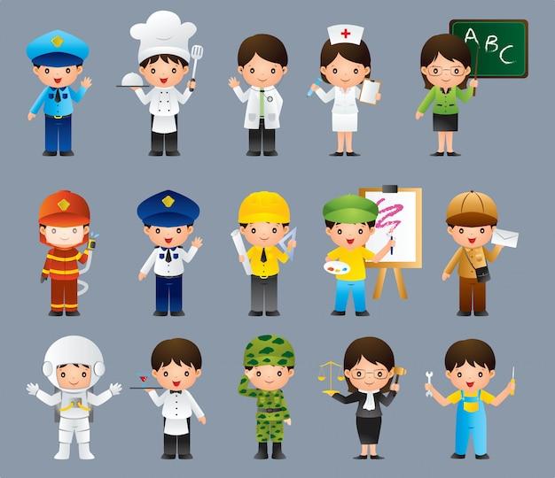Niños en diferentes puestos de trabajo Vector Premium