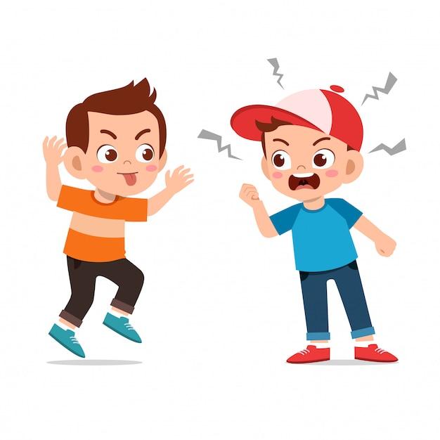 Los niños discuten pelea con un amigo Vector Premium