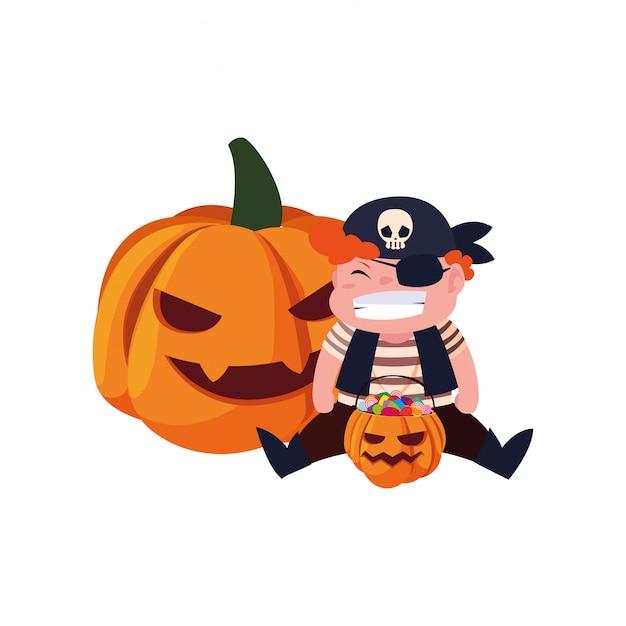 Niños en disfraces de halloween Vector Premium