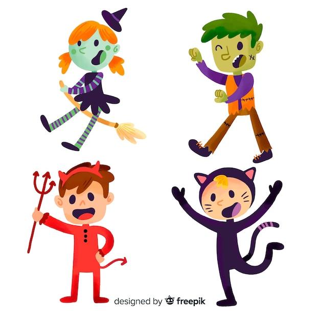 Niños disfrazados de halloween dibujados a mano vector gratuito