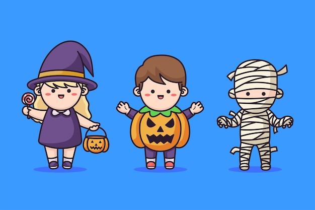 Niños disfrazados de halloween Vector Premium