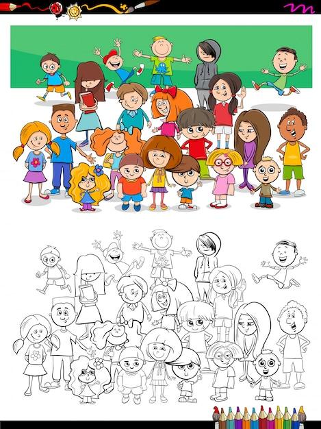 Niños divertidos personajes grupo para colorear | Descargar Vectores ...