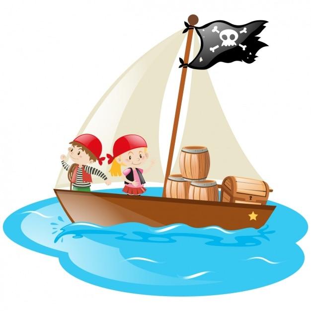 Ni os en un barco pirata descargar vectores gratis - Imagenes de barcos infantiles ...