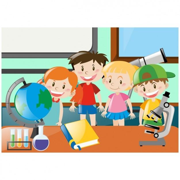Niños en una clase del colegio Vector Gratis