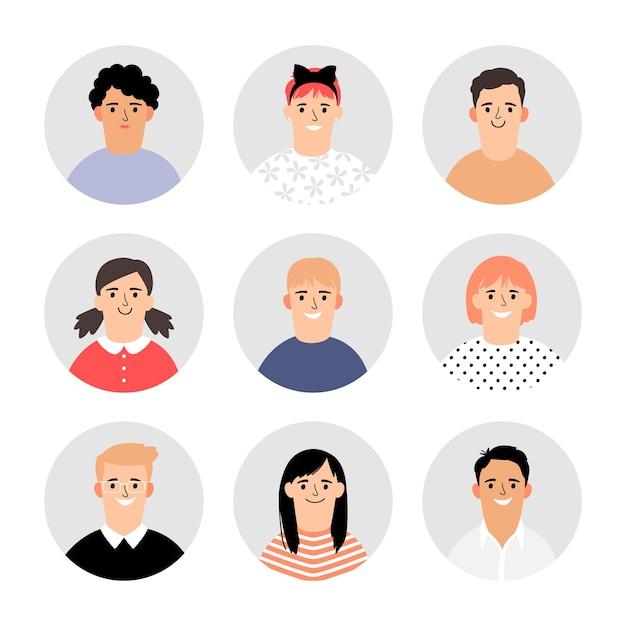Los niños se enfrentan a avatares. los niños vectoriales enfrentan iconos, colección de retratos de ilustración de perfil simple, alumnos de la escuela de círculo o personajes de estudiantes para infografías Vector Premium