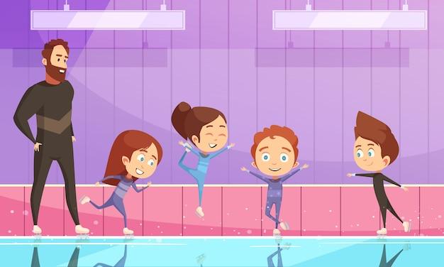 Niños en entrenamiento de patinaje artístico vector gratuito