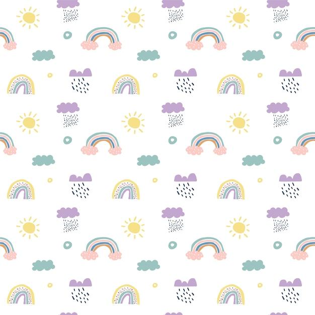 Niños escandinavos sin patrón nubes, lluvia, sol y arco iris Vector Premium