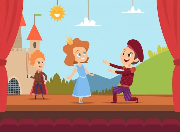 Niños en el escenario escolar. niños actores haciendo gran actuación en la escena dramática ilustraciones vectoriales de paisajes Vector Premium