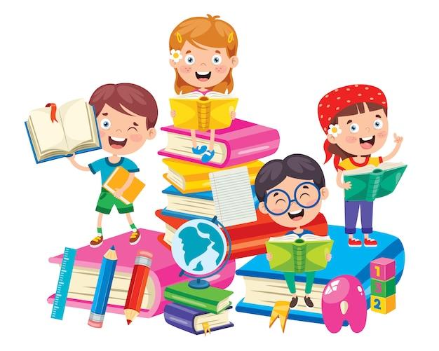 Niños de la escuela de dibujos animados lindo feliz | Vector Premium