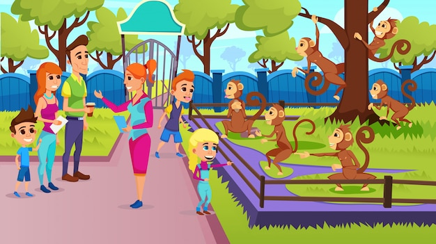 Niños de la escuela y feliz excursión familiar con guía Vector Premium