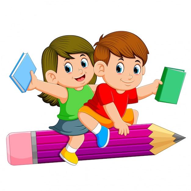 Niños de la escuela montando un lápiz | Vector Premium