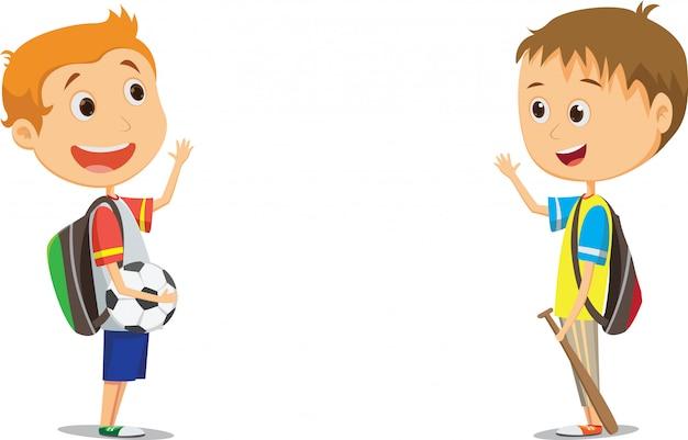 Niños de escuela primaria felices saludando después de la escuela Vector Premium