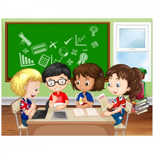 Niños estudiando en el colegio | Descargar Vectores Premium