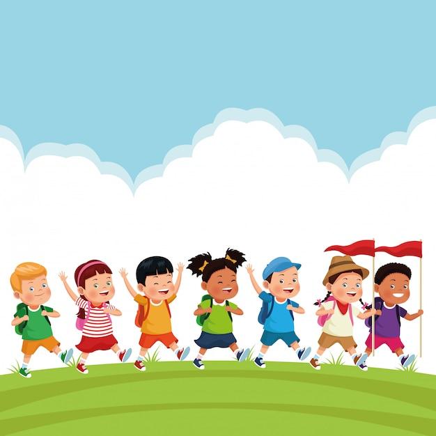 Niños en la excursión escolar. vector gratuito