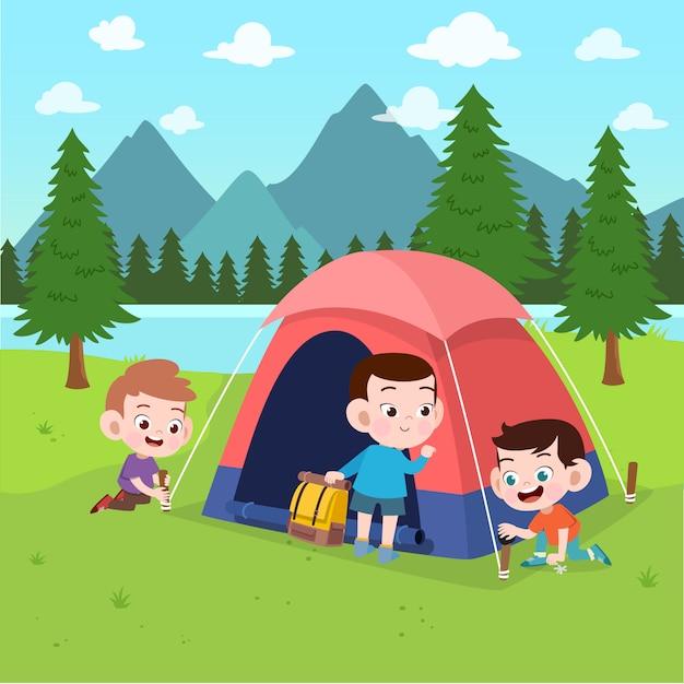 Niños exploradores en la ilustración del campamento Vector Premium