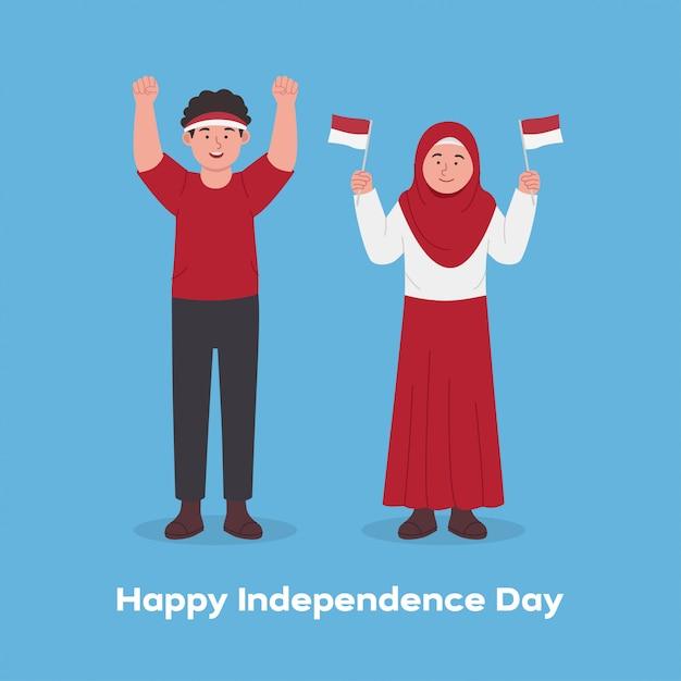 Niños felices celebrando el día de la independencia de indonesia de dibujos animados Vector Premium