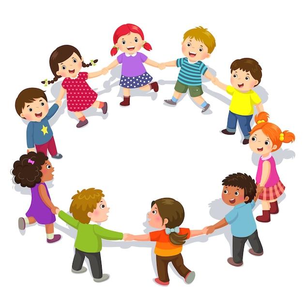 Niños felices cogidos de la mano en círculo. chicos y chicas lindos divirtiéndose | Vector Premium