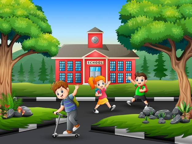 Niños felices se despiden con un amigo después de la escuela Vector Premium