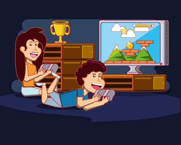Niños Felices De Dibujos Animados Jugando Videojuegos Sobre Fondo