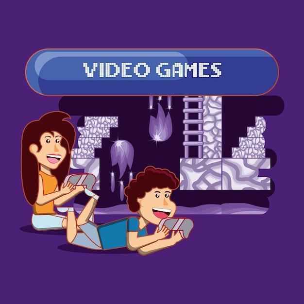 Ninos Felices De Dibujos Animados Jugando Videojuegos Sobre Fondo