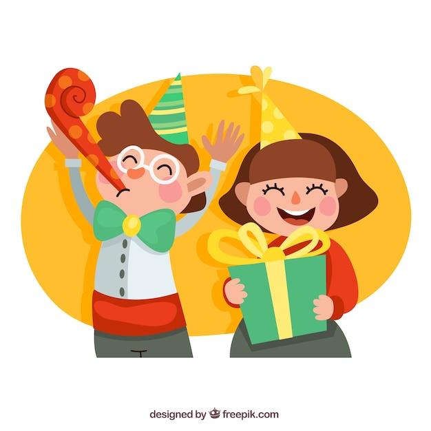 Ninos Felices En La Fiesta De Cumpleanos Descargar Vectores Gratis