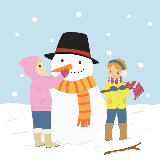 Niños Felices Haciendo Un Muñeco De Nieve Personaje Vector Premium