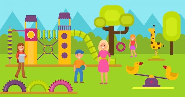 Niños felices en la ilustración de vector de juegos infantiles. adolescente niño y niña con madres o maestra caminando y jugando en el área de juego. juegos para niños y complejo deportivo. jardín de infantes o área escolar Vector Premium