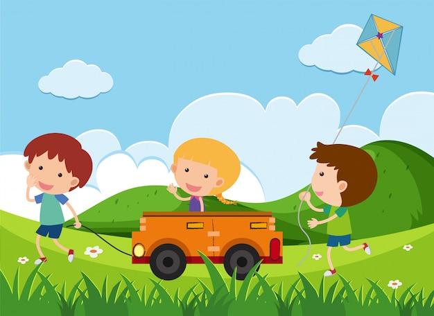 Felices El Jugando ParqueDescargar De Niños Coche Juguete En 8Nn0mw
