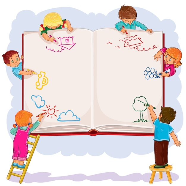 Niños felices juntos dibujar en una gran hoja de libro vector gratuito
