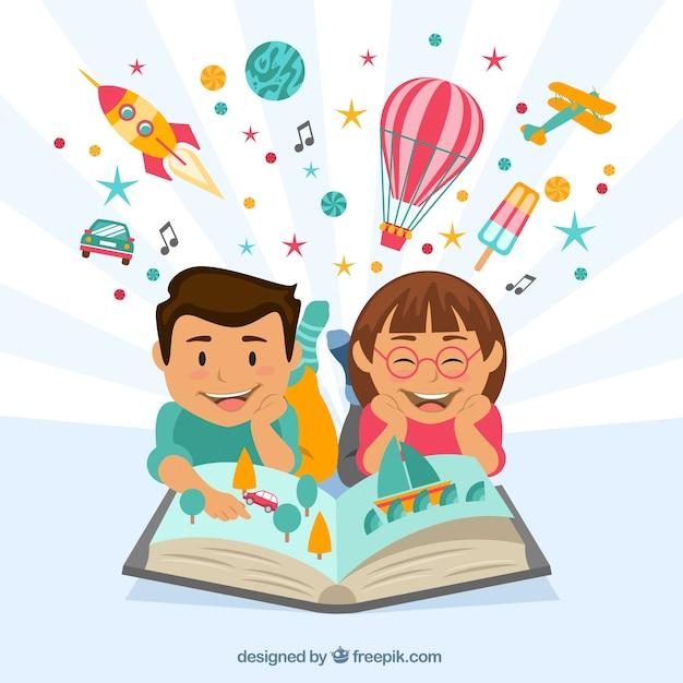 Niños felices leyendo un libro imaginativo vector gratuito