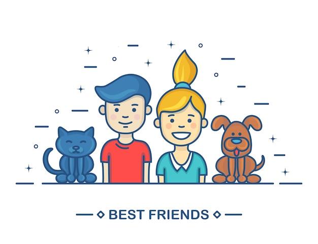 Niños felices. mejores amigos en dibujos animados en línea. hermano, hermana, gato y perro sobre fondo blanco. Vector Premium