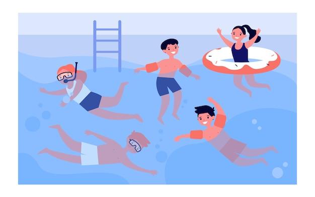 Niños felices en la piscina Vector Premium