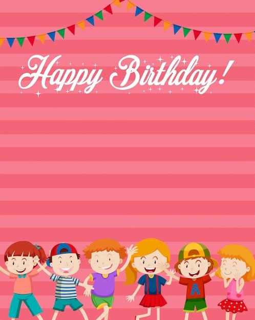 Niños en el fondo de la tarjeta de feliz cumpleaños vector gratuito