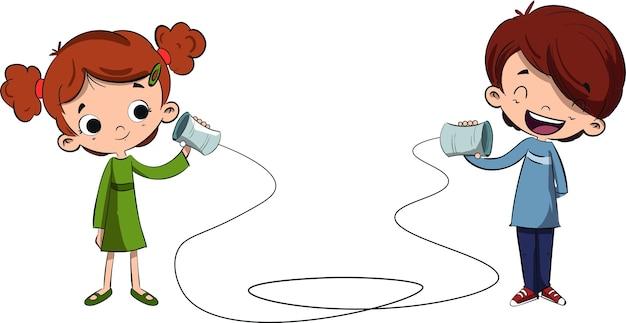 Niños Hablando Por Un Teléfono Hecho A Mano