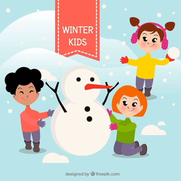 Niños Haciendo Un Muñeco De Nieve Juntos Vector Gratis