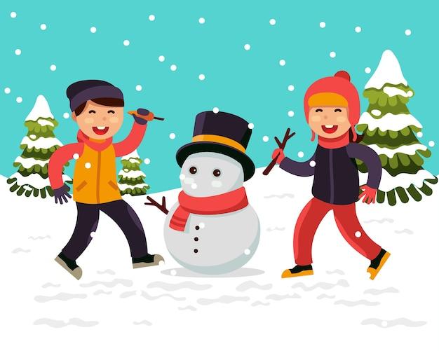 Niños Haciendo Un Muñeco De Nieve Vector Premium