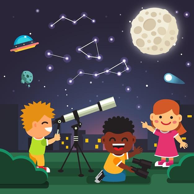 Niños haciendo observaciones astronómicas del telescopio vector gratuito